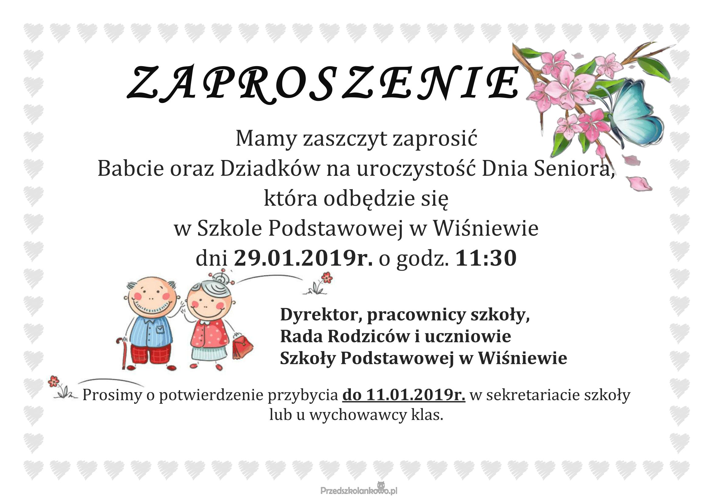 Zaproszenie Na Dzień Babci I Dziadka Szkoła Podstawowa W Wiśniewie